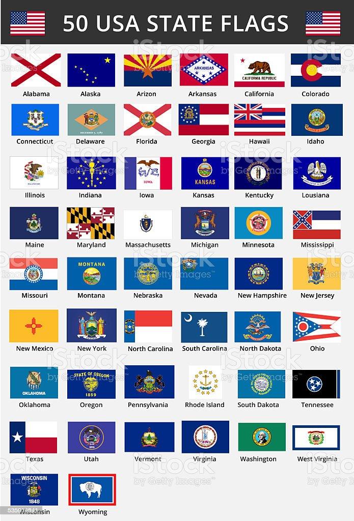 Cinquenta de bandeiras dos Estados Unidos - ilustração de arte em vetor