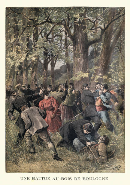 Fight between police and homeless, Bois de Boulogne, 19th Century Vintage colour engraving of Fight between police and homeless in the Bois de Boulognem Paris, (Une Battue au Bois de Boulogne).1895. bois stock illustrations