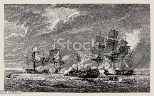 Illustration of a Fight of a French with two English frigates