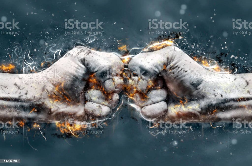 Fight, two fists hitting each other. Fire illustration. vector art illustration