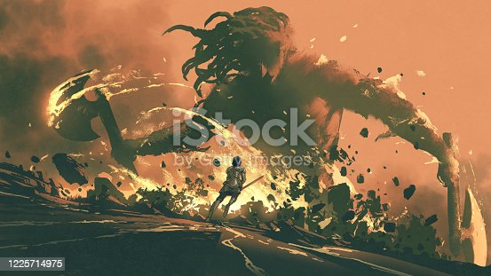 istock Fight with the giants of the dark world 1225714975