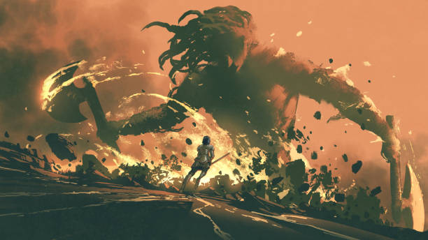 Fight with the giants of the dark world vector art illustration