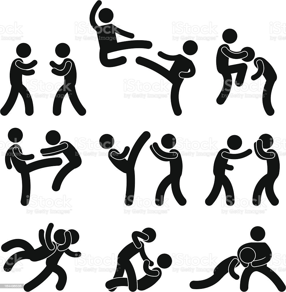 Fighting and Martial Arts Pictogram vector art illustration