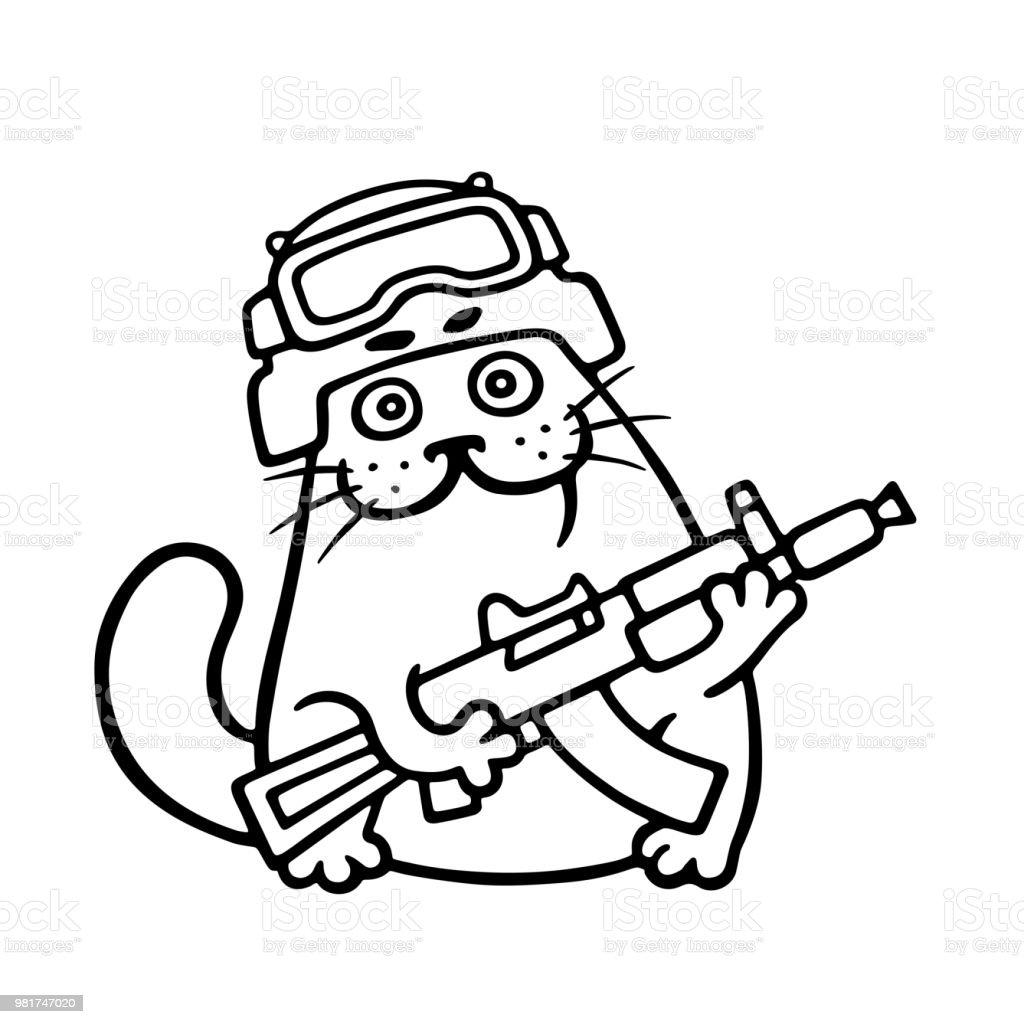 銃とヘルメットでの猫との戦い。 ベクターアートイラスト