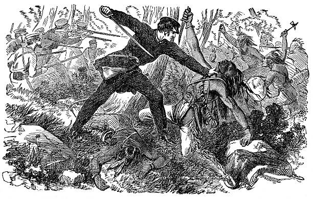 Fighting the native American Red Indians An engraved illustration image of  USA military fighting the native American Red Indians in the America Wild West from a vintage Victorian book dated 1880 that is no longer in copyright mass murder stock illustrations