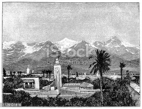 Illustration of a Figuig (Ifyey or Figig) is a town in eastern Morocco near the Atlas Mountains, on the border with Algeria