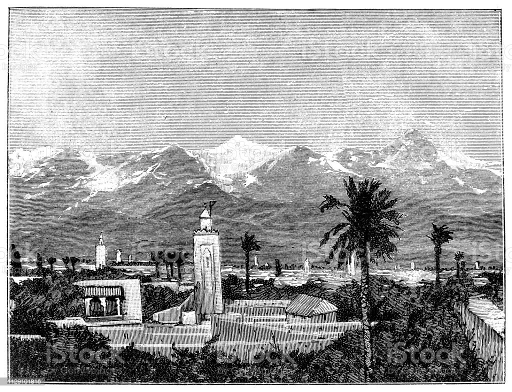 Figuig (Ifyey or Figig) is a town in eastern Morocco near the Atlas Mountains, on the border with Algeria vector art illustration