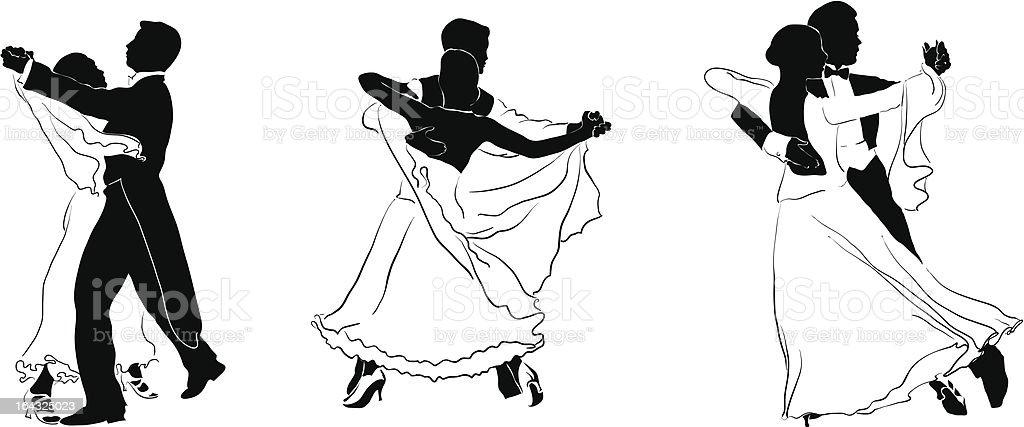 figures of waltz dancers vector art illustration