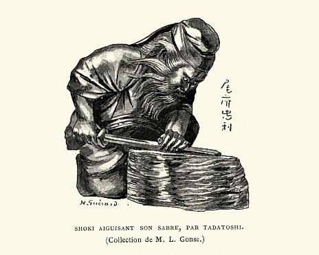 Figurine of Shoki sharpening his sword, by Tadatoshi, Japanese art