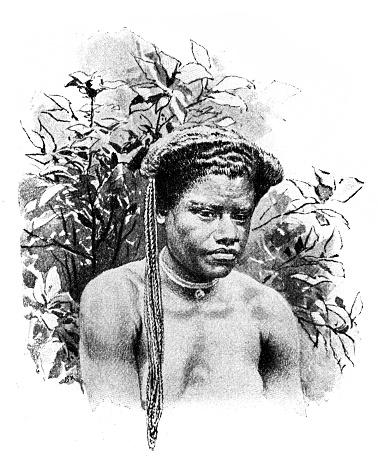 Fijian girl wearing twine-like braids a badge of virgins