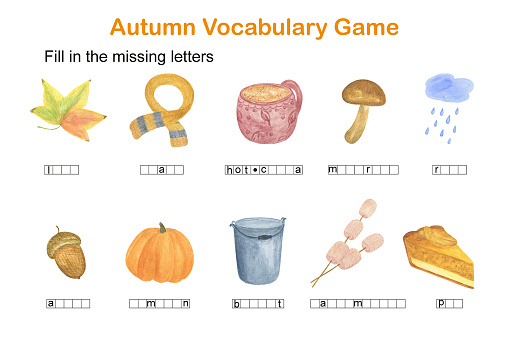 Fill in the missing letters autumn English vocabulary game for kids, leisure activity watercolor illustration worksheet
