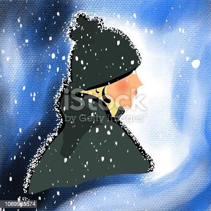 istock Fille dans la neige 1069985574