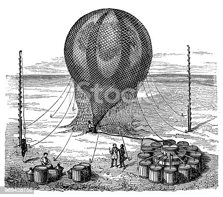 Illustration of a Filling a balloon with a gas