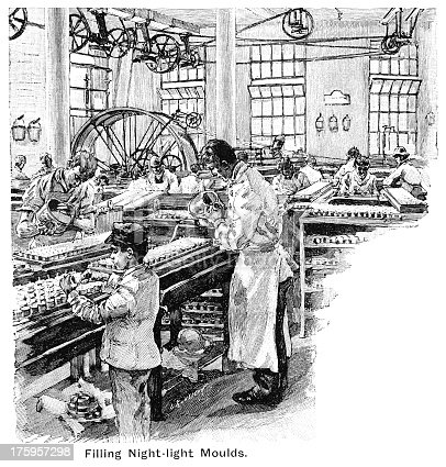 "Workers filling night-light moulds, putting in and trimming wicks in a Victorian candle-making factory. One of the workers is a young boy. From ""The Mothers' Companion"", Vol IX, published in 1895 by S W Partridge & Co, London."