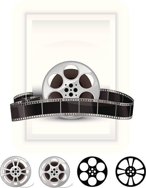 Film reel banner vector art illustration