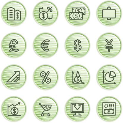 Finance icons. Green series.
