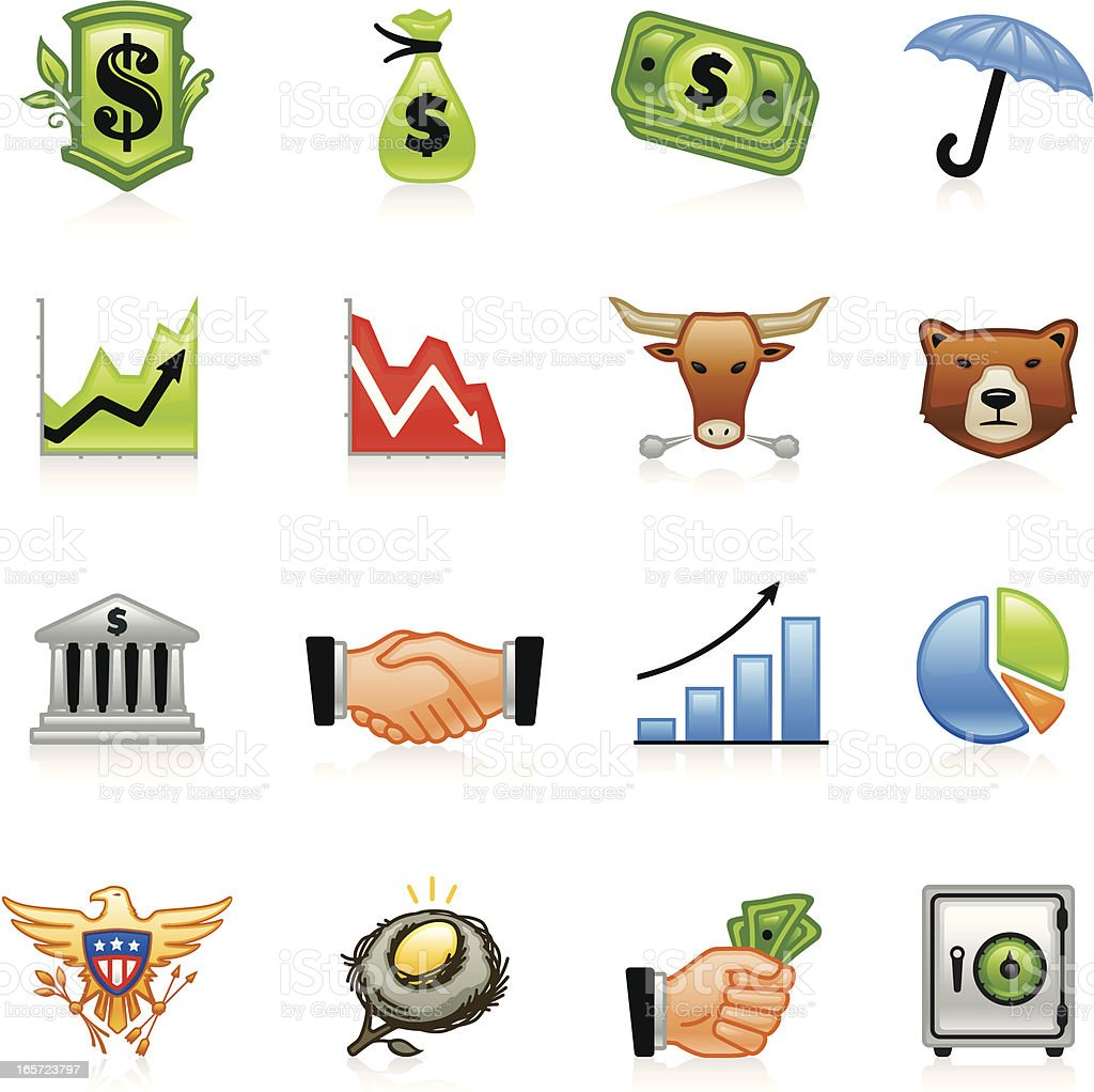 Finance Icons One - Color royalty-free stock vector art