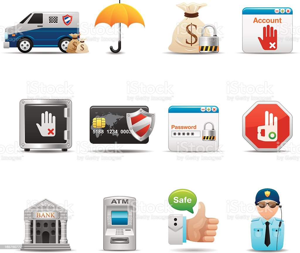 Finance & Transactions Security Icon Set | Elegant Series vector art illustration