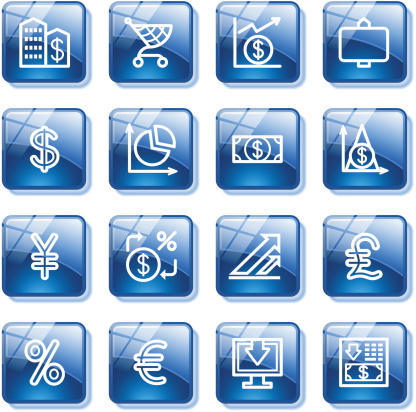 Finance web icons. Blue glass buttons series.