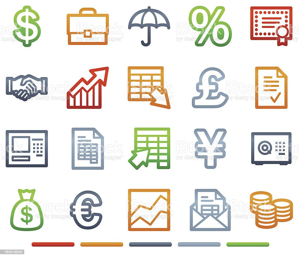 Finance web icons, colour symbols series royalty-free stock vector art