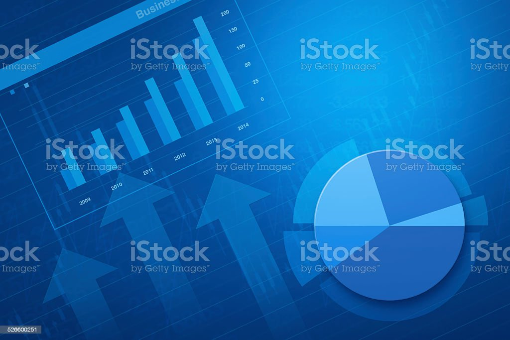 Financial and business chart and graphs vector art illustration
