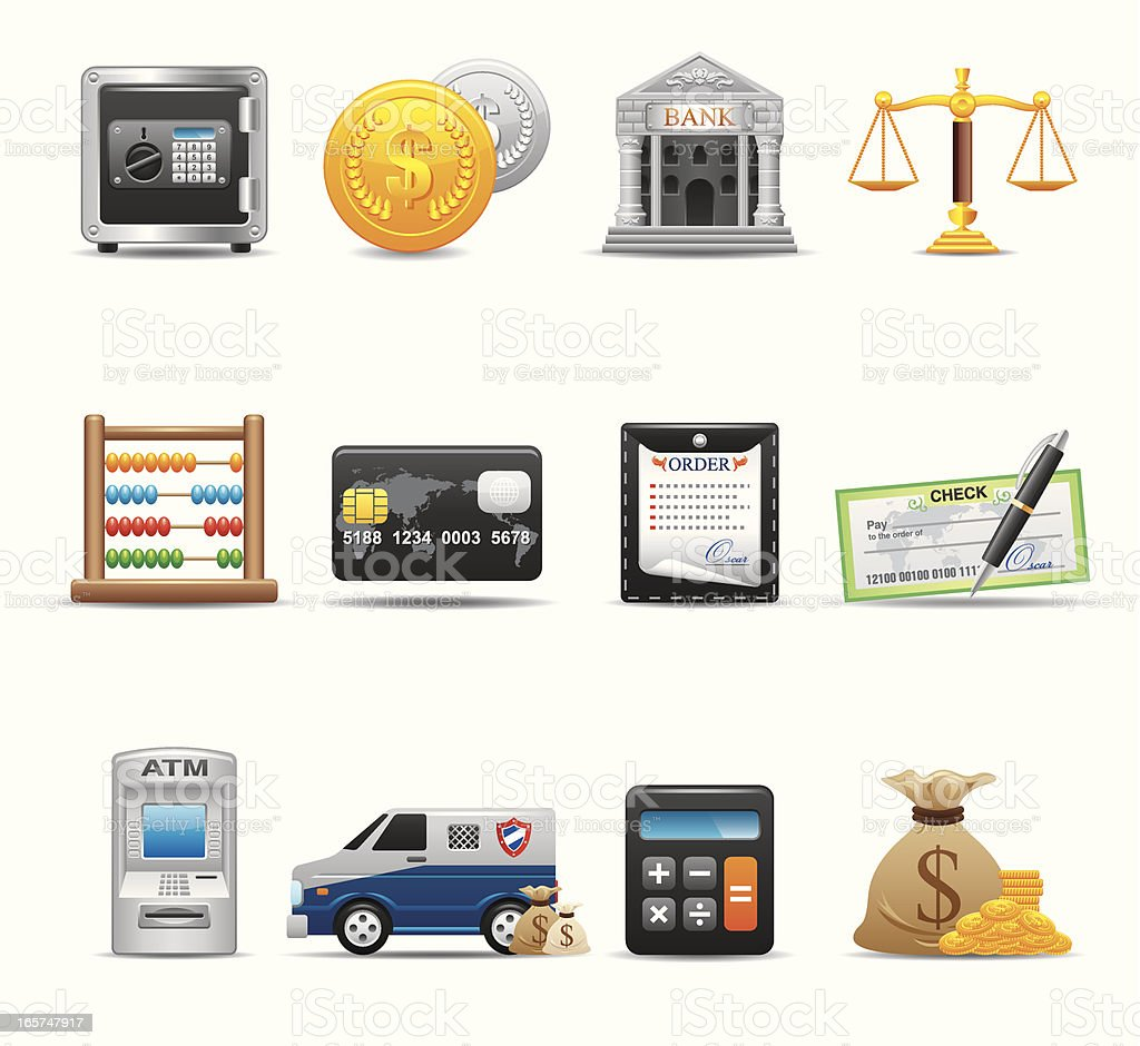 Financial & Bank icon Set | Elegant Series vector art illustration