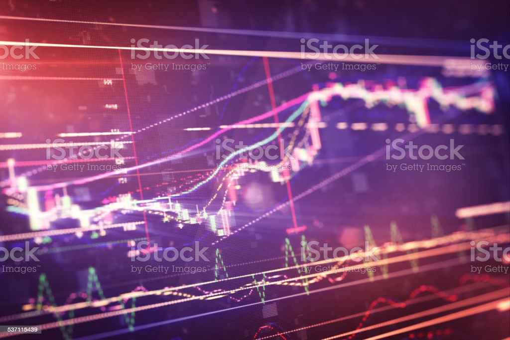 Financiero en display LCD gráfico - ilustración de arte vectorial