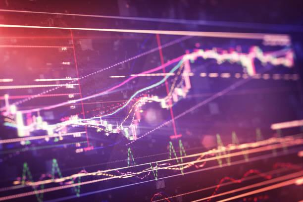 Financial chart on LCD display vector art illustration