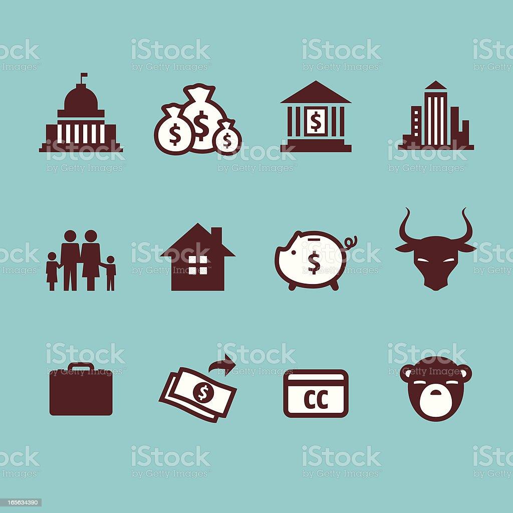 financial crisis icons vector art illustration