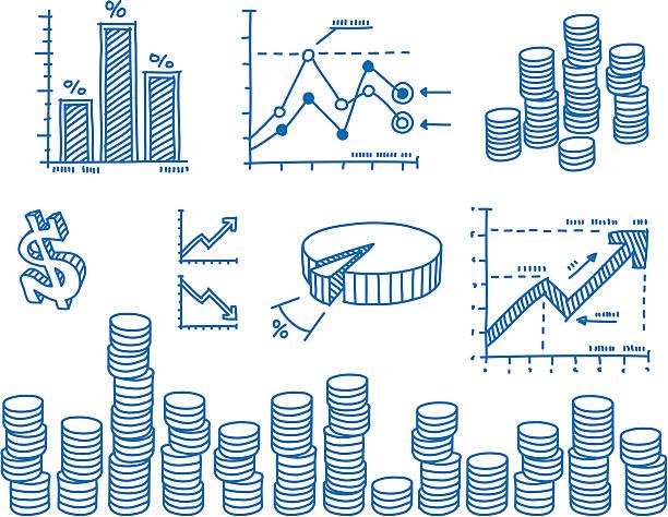 Financial drawings set vektorkonstillustration