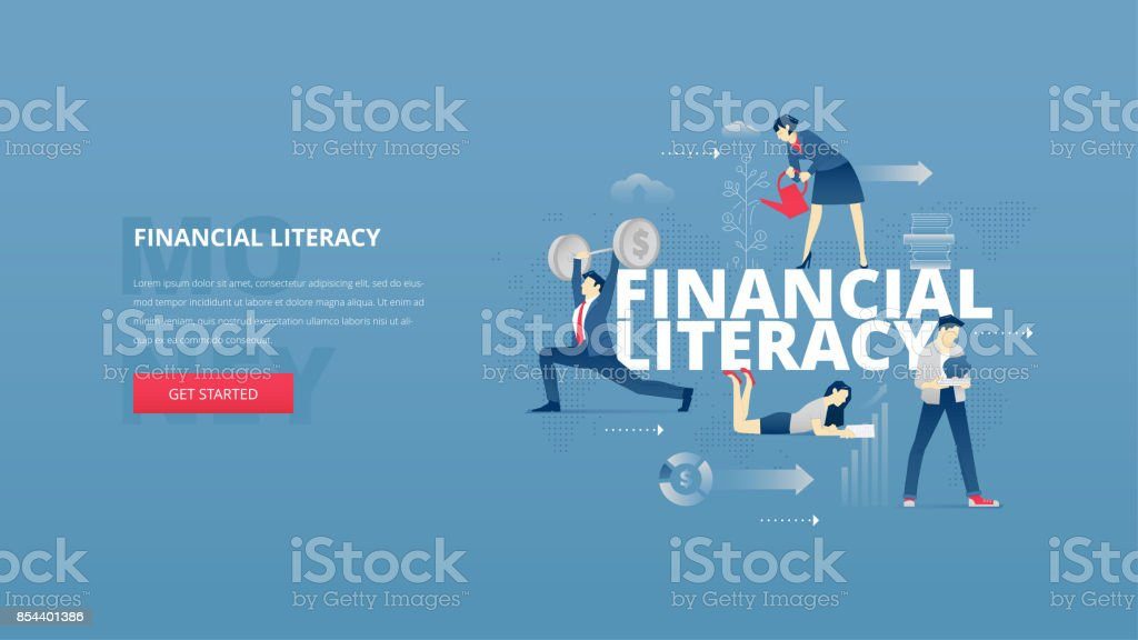 Financial literacy hero banner vector art illustration