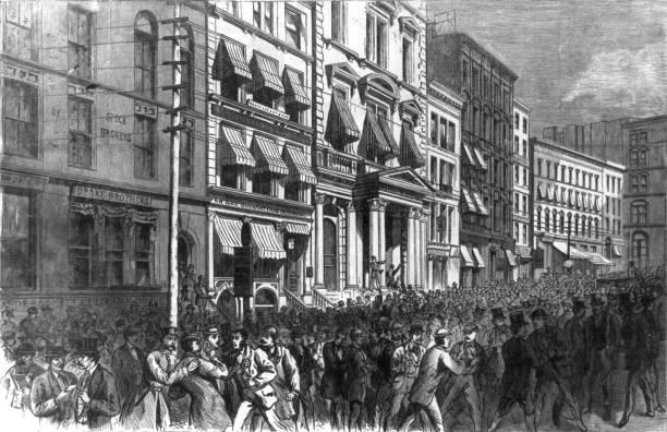 ilustraciones, imágenes clip art, dibujos animados e iconos de stock de pánico financiero de 1873 - corredor de bolsa