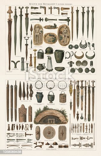 The Metal ages - Archaeological finds in the 19th century of the Copper, Bronze, and Iron Age in Europe. Lithograph, published in 1897.