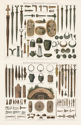 Finds of the Metal ages in Europe, lithograph, published 1897