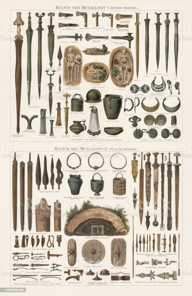 Finds of the Metal ages in Europe, lithograph, published 1897 vector art illustration