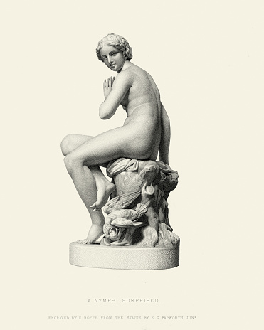 Vintage engraving of the statue A Nymph Surprised by Edgar George Papworth, Jnr. 19th Century