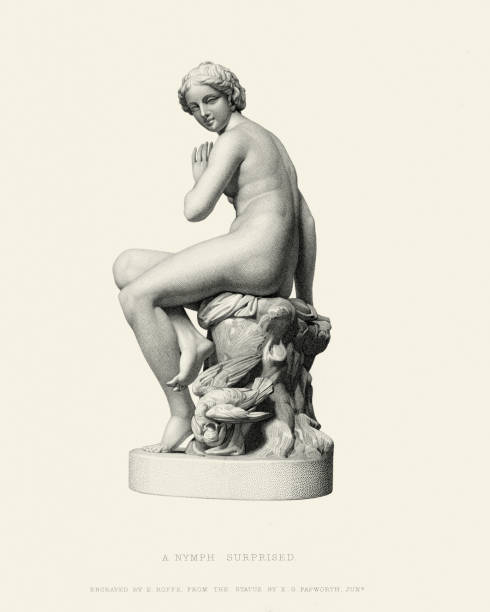 Fine Art Statue - A Nymph Surprised Vintage engraving of the statue A Nymph Surprised by Edgar George Papworth, Jnr. 19th Century neo classical stock illustrations