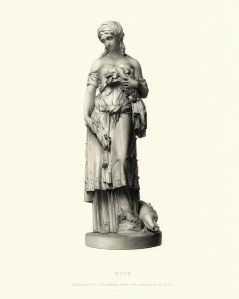 fine art statue, of ruth (biblical figure) - ruth stock illustrations