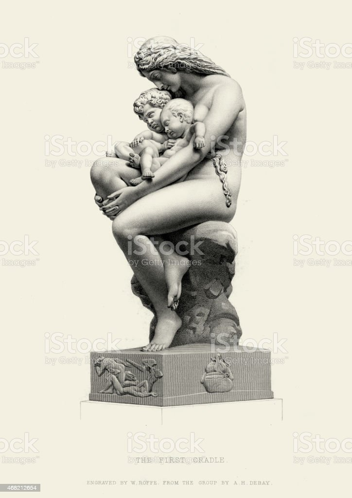 Fine Art Statue - The First Cradle by  Auguste-Hyacinthe Debay vector art illustration