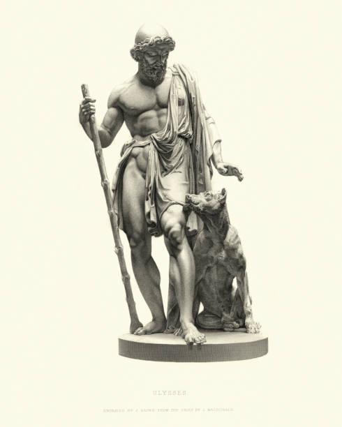 Fine Art Statue, Ulysses (Odysseus), after L Macdonald, 1855 vector art illustration