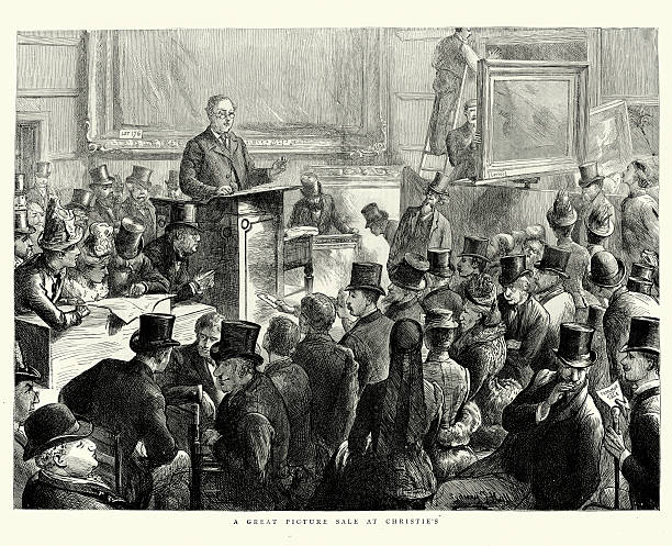 Fine Arts Auction at Christie's 1887 vector art illustration