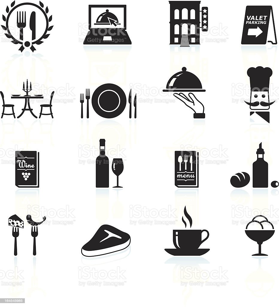 Fine restaurant dining and dinner reservations black & white icons vector art illustration