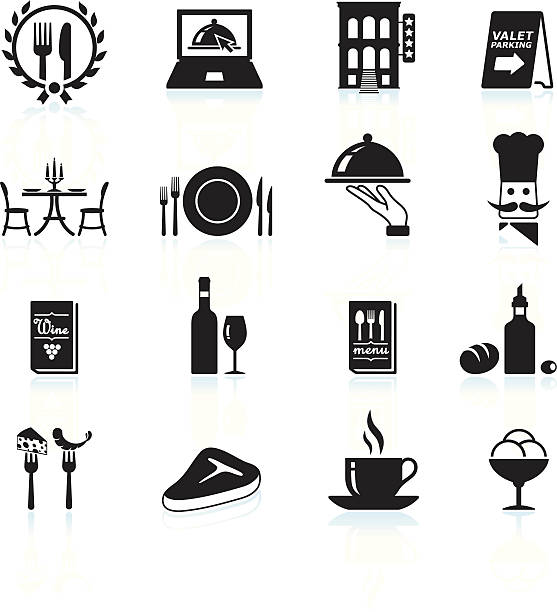 fine restaurant dining and dinner reservations black & white icons - fine dining stock illustrations, clip art, cartoons, & icons