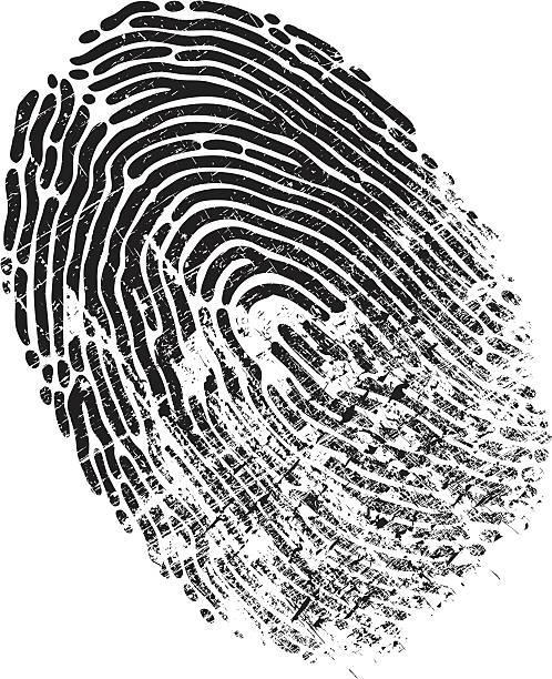 Finger Print Distressed A black and white fingerprint is distressed. Please check out my other images :) crime scene stock illustrations