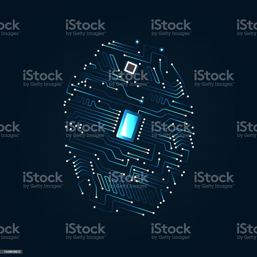 Fingerprint Scanning On Circuit Board Vector Illustration Stock Royaltyfree Images Binary Code Abstract Accessibility Backgrounds Biometrics Royalty Free
