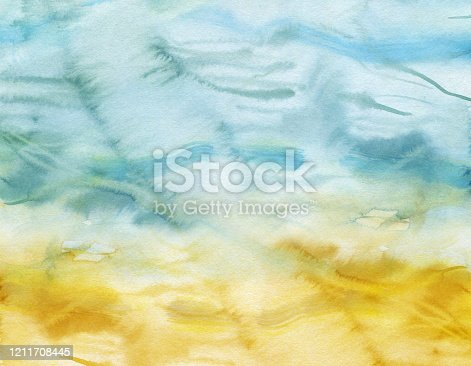 605740894 istock photo finished image of a blue yellow watercolor background 1211708445