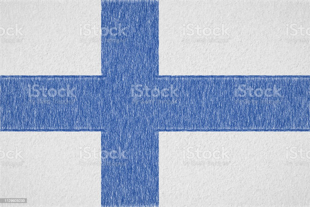 Finland painted flag vector art illustration