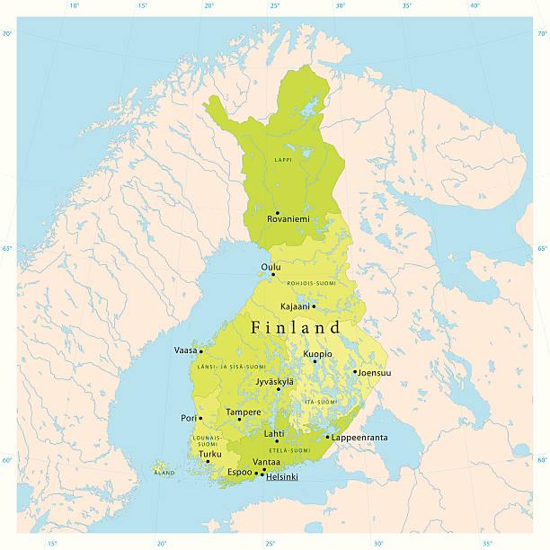 finnland vektor-karte - ostsee stock-grafiken, -clipart, -cartoons und -symbole