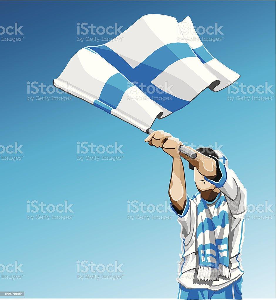 フィンランドのサッカーファンの手を振るフラグ ベクターアートイラスト