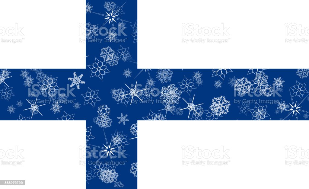Finland winter snowflake flag vector art illustration